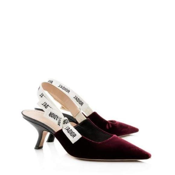 Dior Shoes - Dior J'adior Red Velvet Slingback Pumps